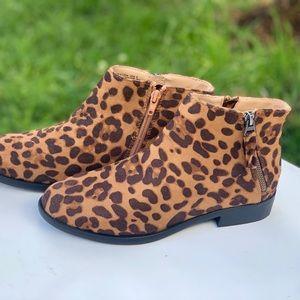 Women's Time and Tru Two Zip Leopard Print Bootie